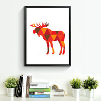 Moose Print Art, red orange Wall Prints, Geometric Moose, Wall Prints, Printable Art, Print Moose Art, red orange Wall Art *168*