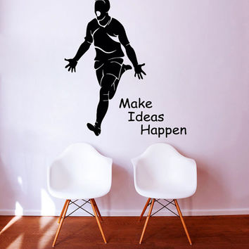 Words Wall Decals Boy Quote Make Ideas Happen Sport Vinyl Decal Sticker Home Decor Interior Design Mural Art Kids Nursery Room Decor KG801