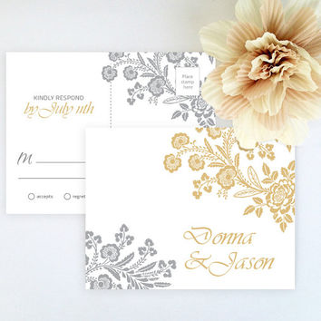 Postcard style RSVP card printed on luxury cream/white pearlescent paper - Gold and gray floral wedding RSVP card