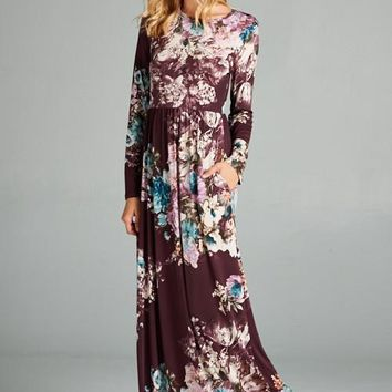A Million Miles Floral Long Sleeved Maxi Dress
