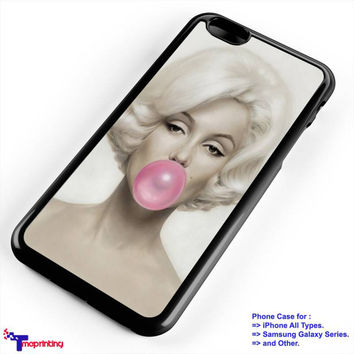 Marilyn Monroe With Pink Bubble Gum 1 - Personalized iPhone 7 Case, iPhone 6/6S Plus, 5 5S SE, 7S Plus, Samsung Galaxy S5 S6 S7 S8 Case, and Other
