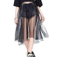 ROMWE Letters Print Transparent Mesh Black Dress