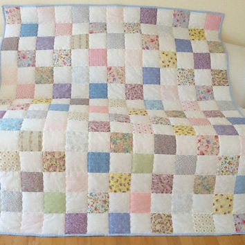 Lady Rose Shabby Chic Large Lap Quilt Throw Cottage Quilt Homemade Handmade  Quilt 57 x 66 inches Free Shipping Canada and  USA