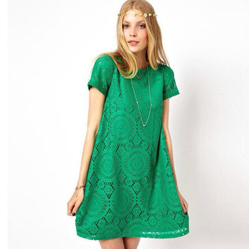 Casual Short Sleeve Loose Hollow Out Short Dress
