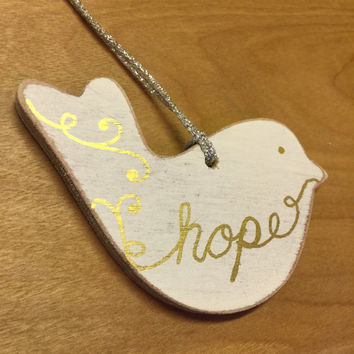 Wood Christmas Ornament / Rustic Christmas Ornament / Dove Christmas Ornament / Holiday Ornaments / Handpainted / Hope / Gold and Silver