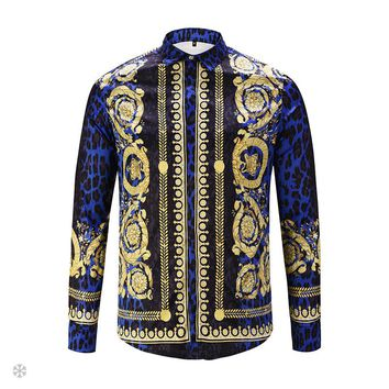 Versace 2018 autumn new 3D digital HD printing gold flower carved long-sleeved shirt