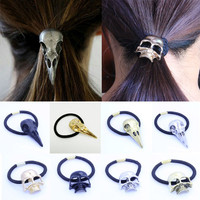 LNRRABC Gothic Raven Skull Women Elastic Hair Rope Halloween Metal Hair Accessories Jewelry acessorio para cabelo hair bundles