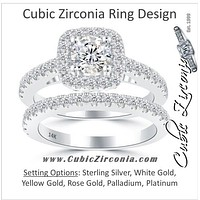 CZ Wedding Set, Round Cut Double Halo with Round Prong Band