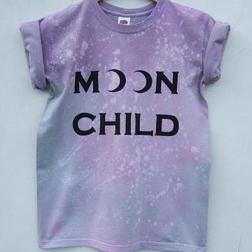 Pastel Goth Moon Child Shirt, Purple Tie Dye Acid Wash Bleached Grunge Tumblr Top - Size Small