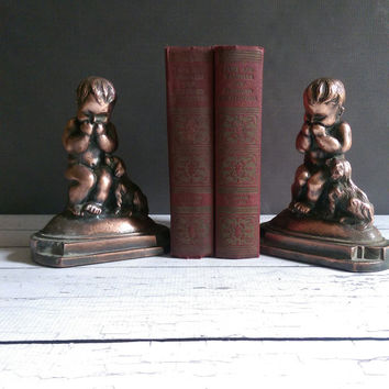JL Drucklieb Art Deco Bookends of giggling child with dog/ Rare JL Drucklieb Bookends/ Antique Drucklieb Statues/ Antique Bookends