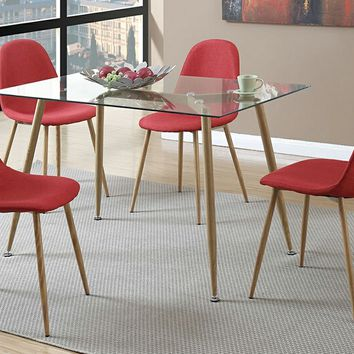 5 pc Mid Century collection rectangular glass top and red fabric seat dining table and chairs