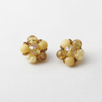 Vintage Creme and Brown Faceted Bead Cluster Earrings - Wedding Stud Earrings, Gold Bead Studs