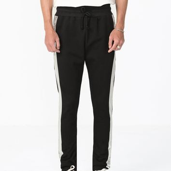 Metallic Foil Stripe Sweatpants