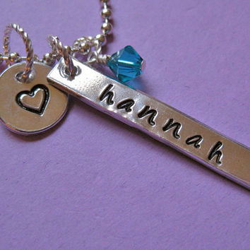 Customized Handstamped Name Necklace by thirtyoneshekels on Etsy