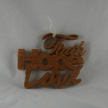 Faith Hope Love Word Art Wall Hanging Home Decor Handmade From Cherry Wood