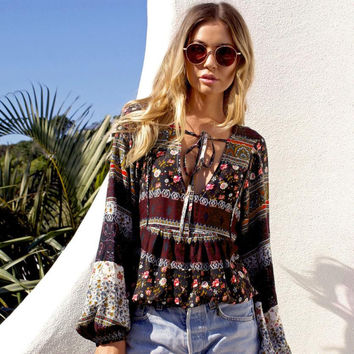 Fashion Blouses Summer Boho Style Long puff Sleeve Casual Blouse Loose crop Tops
