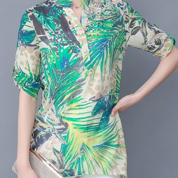Streetstyle  Casual Tropical Split Neck Printed Roll-Up Sleeve Blouse