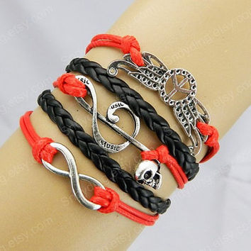Silvery Infinity Wish peace sign with wings music note Charm red leather bracelet Double love bracelet black leather bracelet