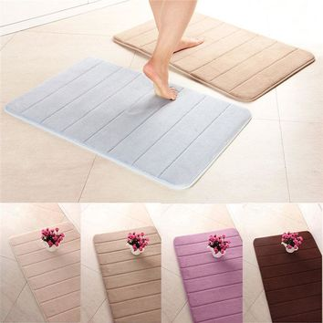 Newest 50x80cm Memory Foam Floor Bath Mat Coral Velvet Anti-slip Bathroom Rug Magnificent Stripe Fleece High Absorbency Carpet