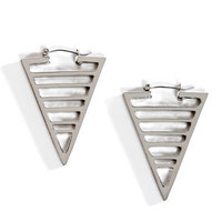 Space Age Silver Triangle Earrings