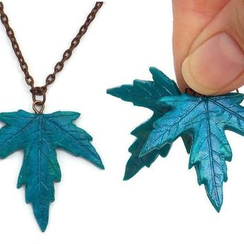 Maple Leaf Necklace and Earrings Set in Shimmery Peacock Blues