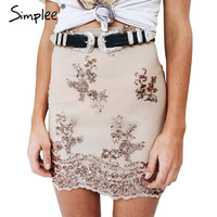 Simplee Elegant lace sequin mesh women skirt Autumn winter black high waist casual mini Sexy party skirt bodycon pencil skirt