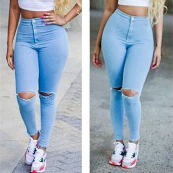 2017 Aakar shan Sexy Women High Waisted Full Length Jeans Skinny Stretchy Pants Ripped Distressed Pencil Jeggings pants