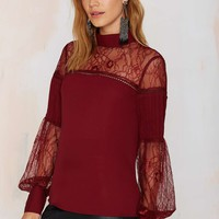 Nasty Gal Lace to the Finish Blouse - Red