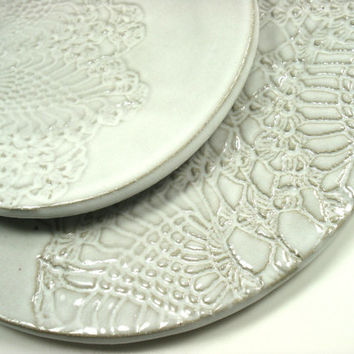 White Pottery Plates, White Dinnerware, Ivory Lace, Modern Organic Decor, White Home Decor, Ivory Place Setting, White Lace Dishes
