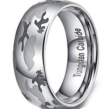 CERTIFIED 8mm Camouflage Hunting Tungsten Carbide Ring Camo Wedding Engagement Band Domed Design
