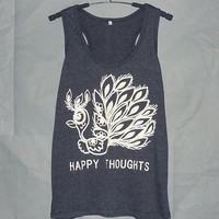 Happy thoughts tank top Sale peacock shirt off-white prints inspirational quotes bird tee M L XL sleeveless tank /racer back/ unisex clothes