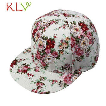 2017 KLV Las gorras de beisbol Hot Sale New Fashion Women Floral Hip-Hop Hat Flat Adjustable Baseball Cap  17May 4