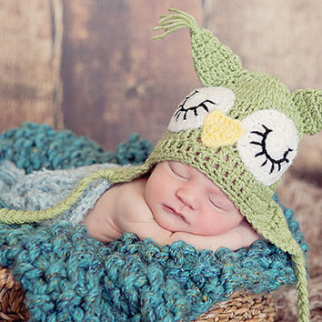 Crochet Baby Earflap Hat, Green Owl Hat, Crochet Owl Hat, Olive Green Earflap Newborn Hat, Owl Ear Flap Hat