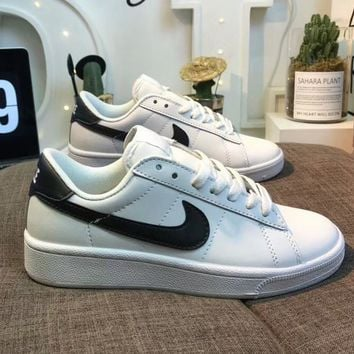 NIKE Tennis Classic Fashionable Unisex Casual Leather Flat Sport Running Shoe Sneakers White(Black Hook) I-AA-SDDSL-KHZHXMKH