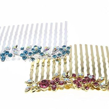 1pc Rhinestone Flower Hairpin Brides Hair Pins Clip Crystal Hair Combs Butterfly Wedding Hair Jewelry Accessories MF01