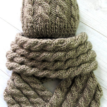 Knitted hat and scarf set unisex, Hand Knit Cable Beanie and Scarf Set