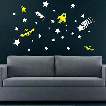 Stars and Spaceships Decal Sticker Wall space alie