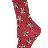 Gingerbread Man Ankle Socks - Red