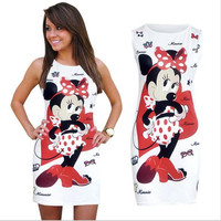 2016 new Fashion Women Summer Sleeveless white Bodycon Camouflage Cartoon Mouse Print Sexy tank Mini Dress Vestido Curto Cortos