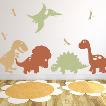 Children's Room Wall Decals with Dinosaurs and Dragonflies