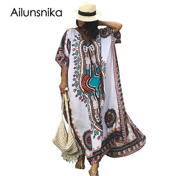 Ailunsnika Plus Size Women Summer African Ethnic Print Kaftan Maxi Dress 2018
