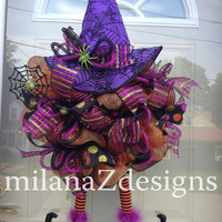 Halloween Witch Wreath, Cute Deco Mesh Witch & Legs, Black Purple Orange Spooky Halloween Party Decor, Sparkly Mesh Fall Wreath, Witch Hat