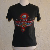 Vintage 1980 JOURNEY WORLD TOUR 1980 Concert T Shirt Departure Tour Size Small 34 To 36 Front And Back Images