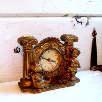 Vintage Cherub Clock, Mantle clock, aged patina, Aged Brass colored, rose details Angels