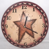 Your Hearts Delight Primitive Star Wall Clock, 11-1/4-Inch