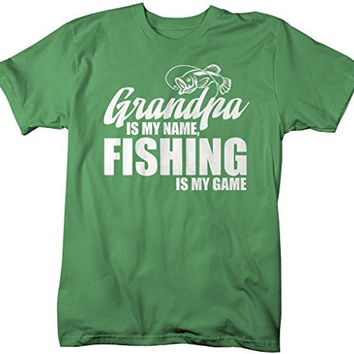 Shirts By Sarah Men's Funny Fishing T-Shirt Grandpa Is My Name Fishing Is My Game Shirt