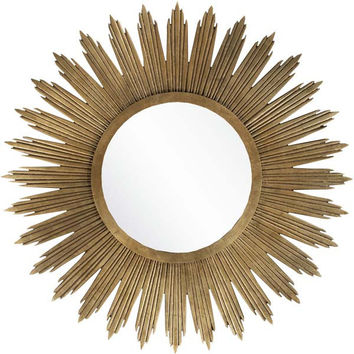 Beveled Gilded Finish Round Mirror Aged Gold Color  - Home Decor | Surya