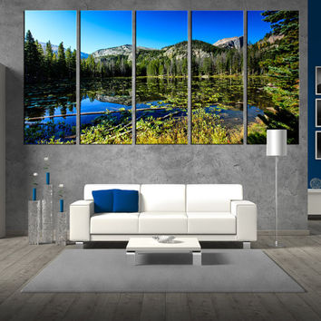 Nymph Lake in Rocky Mountain National Park wall art canvas print, large canvas print, extra large wall art, photo canvas print  t351