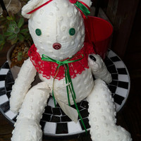"Vintage ~WHITE CHENILLE BEAR 18"" Handcrafted with forever Tag by Midnite Crafters 1992"