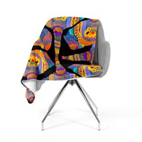 "Pom Graphic Design ""The Elephant In The Room"" Rainbow Tribal Fleece Throw Blanket"